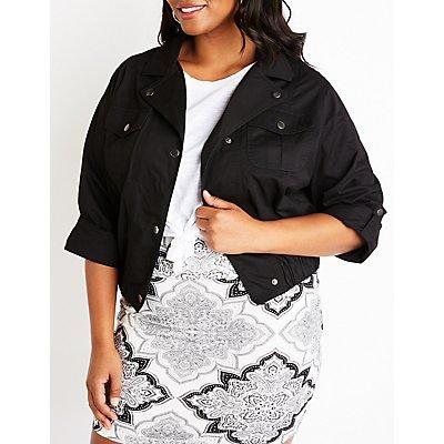 Plus Size Cropped Anorak Jacket