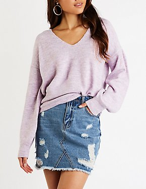 Open Back V Neck Sweater