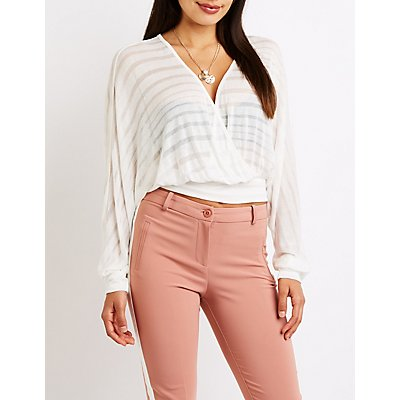 Shadow Stripe Wrap Top