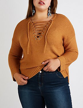 Plus Size Lace Up Pullover Sweater