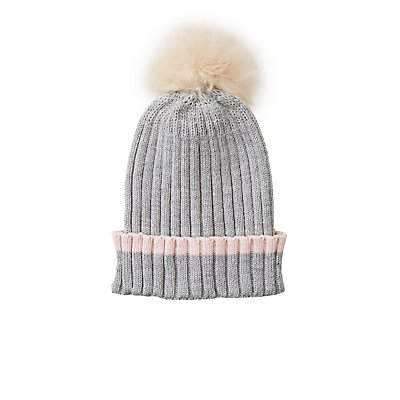 Striped Pom Pom Beanie