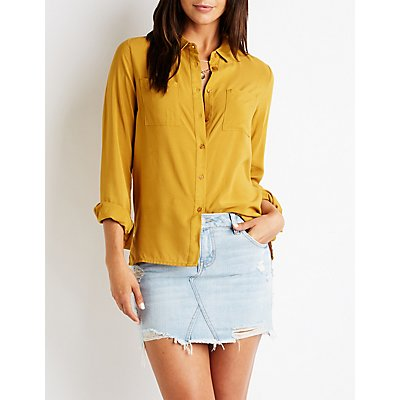 Dual Pocket Button Up Blouse