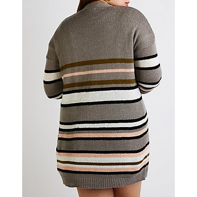 Plus Size Striped Button Up Cardigan