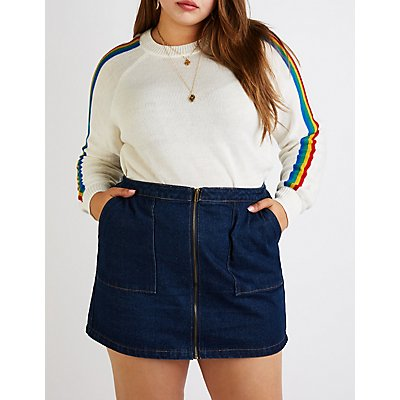 Plus Size Rainbow Striped Sweater