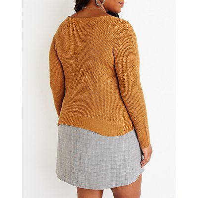 Plus Size Front Twist V Neck Sweater