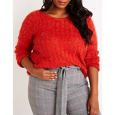 Plus Size Fuzzy Knit Pullover Sweater
