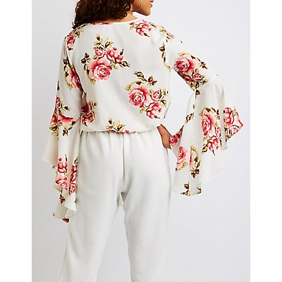 Floral Surplice Cascade Sleeve Top