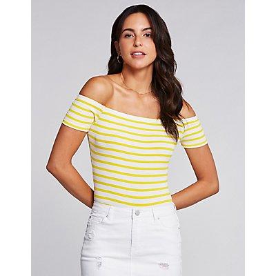 Stripe Off The Shoulder Bodysuit