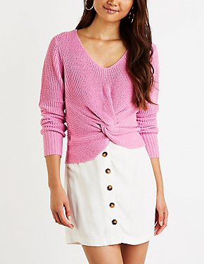 V Neck Knotted Sweater
