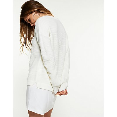 Lace Up Pullover Sweater