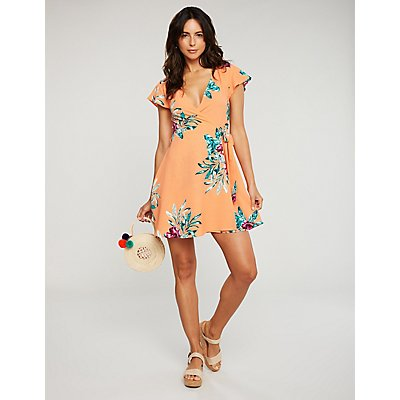 Floral Wrap Tie Dress