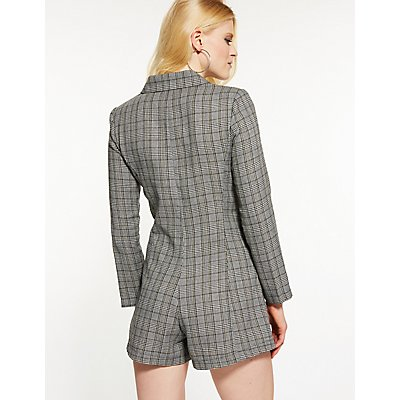 Plaid Blazer Romper