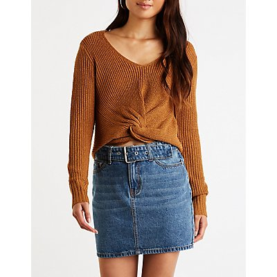 Front Twist V Neck Sweater