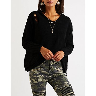 Destroyed Chenille Hooded Sweater