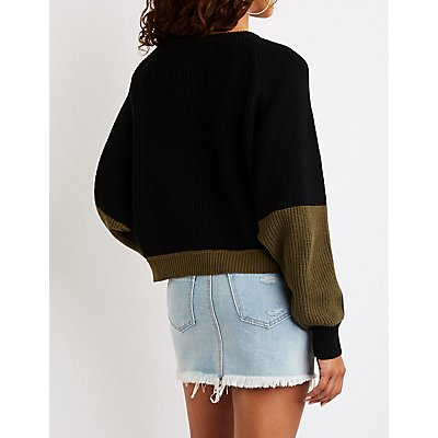 Colorblock Dolman Pullover Sweater