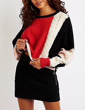 Colorblock Dolman Pullover Sweater