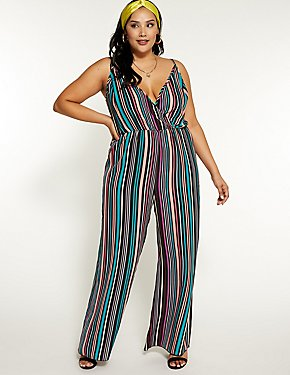 Plus Size Striped Wide Leg Jumpsuit