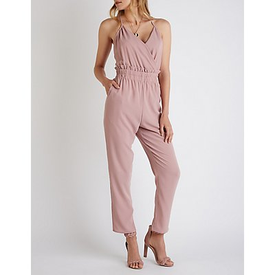 V Neck Paper Bag Jumpsuit