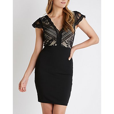 Lace Up Bodycon Dress | Tuggl