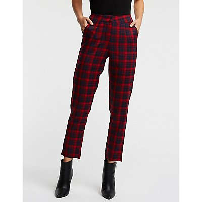 Plaid Slim Trousers