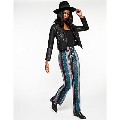 Printed Lace Up Flare Pants