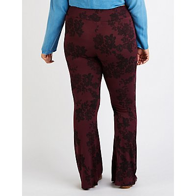 Plus Size Floral Flare Pants
