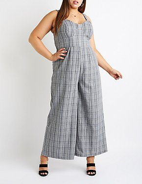 Plus Size Plaid Jumpsuit