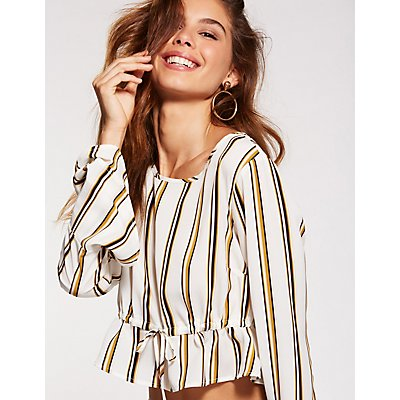 Striped Bell Sleeve Peplum Top