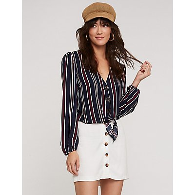 Stripe Button Up Top