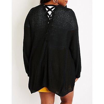 Plus Size Lattice Open Front Cardigan