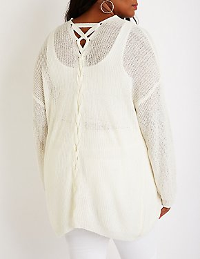Plus Size Lattice Open Front Cardigan