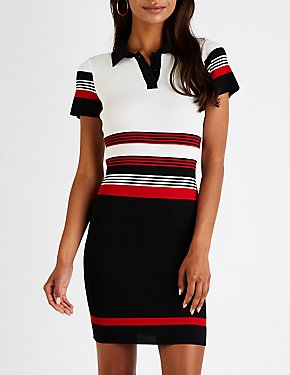 Striped Button Up Bodycon Dress