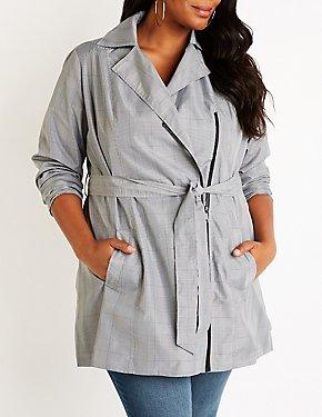 Plus Size Plaid Trench Coat
