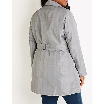 Plus Size Plaid Trench Coat