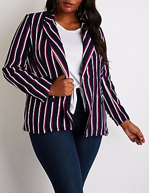 Plus Size Striped Double Breasted Blazer