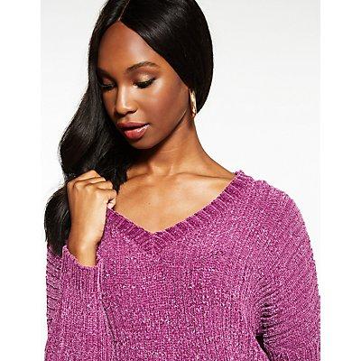 V Neck Hi Low Sweater