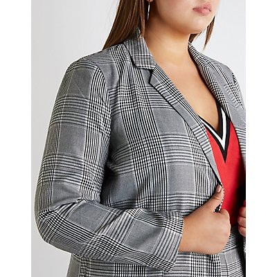 Plus Size Plaid Boyfriend Blazer