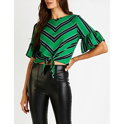 Striped Front Tie Top