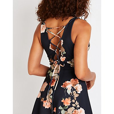 Floral Lace Up Back Skater Dress