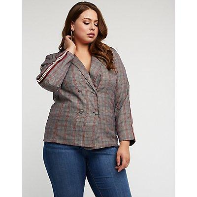 Plus Size Glen Plaid Side Stripe Blazer