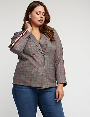 Plus Size Glen Plaid Side Stripe Blazer