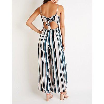 Striped V Neck Jumpsuit