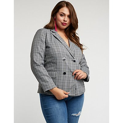 Plus Size Plaid Double Breasted Blazer