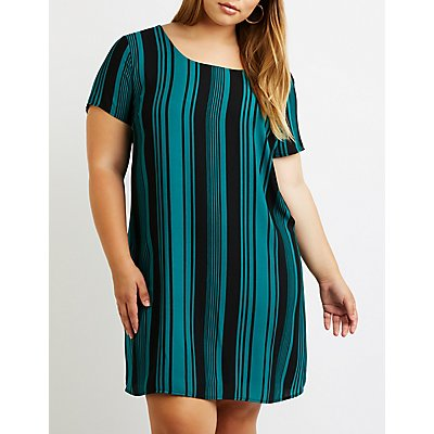 Plus Size Striped Caged Back Shift Dress