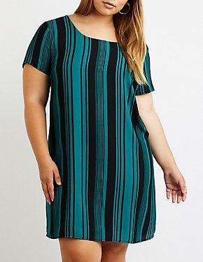 Plus Size Striped Caged Back Shift Dress