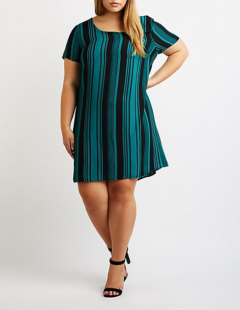 Plus Size Striped Caged Back Shift Dress Charlotte Russe