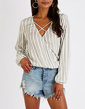 Striped Caged Surplice Top