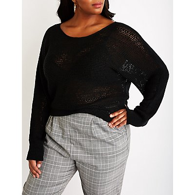 Plus Size Open Knit Pullover Sweater