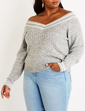 Plus Size Off The Shoulder Cable Knit Sweater