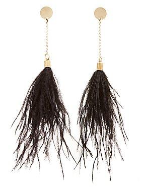 Faux Feather Drop Earrings
